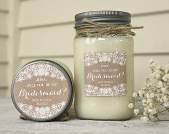 Bridesmaid proposal / Will you be my Bridesmaid Candle / Will you be my Maid of Honor / Bridesmaid Box / Rustic Wedding Gift / Burlap & Lace
