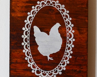 Chicken Silhouette onto Reclaimed Wood, chicken screen print, handprinted onto repurposed wood, ready to hang