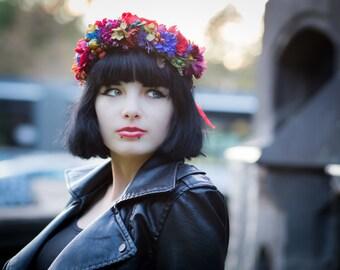 flower crown hair wreath romantic red brown green blue wedding crown bridal headpiece woodland headwreath hair flowers autumn