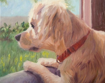 Looking Out the Window, 6x6 Original Oil Painting on Panel by Alice Leggett