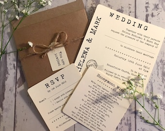 Vintage/Rustic Pocket 'Helena' pocket wedding invitation with RSVP, honeymoon wish card, twine and tag