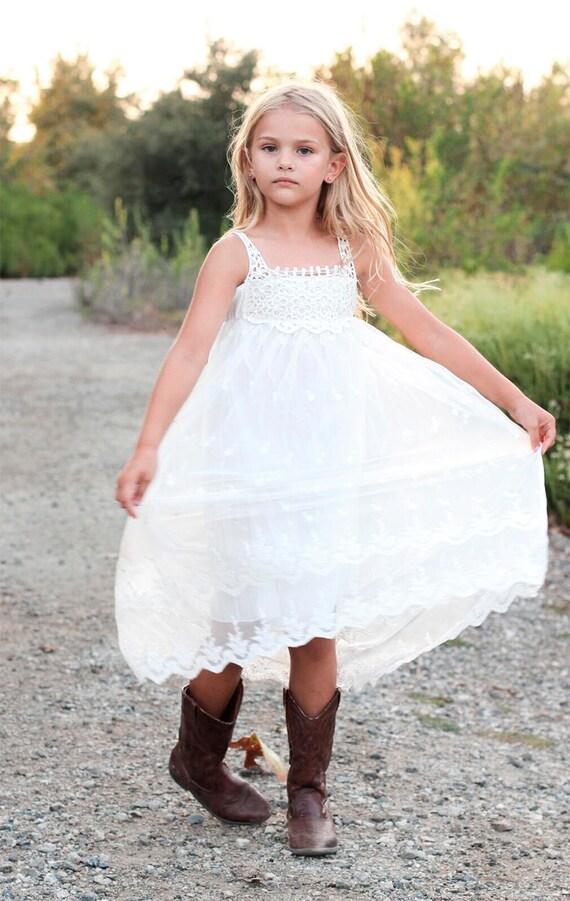 Flower Girl Dress,Flower Girl Lace Dress, White Lace Girl Dress, Lace Girl dress, White Bohemian Flower girl, Boho Flower Girl Dress Crochet