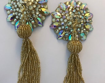Sparkly gold pasties with tassel, AB stones