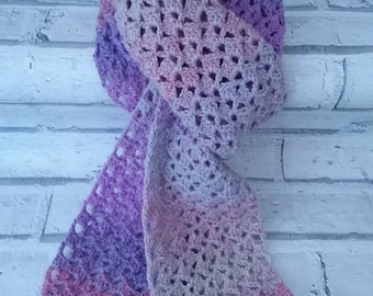 Lightweight spring scarf, Lacy pattern scarf, Crochet scarf, Spring accessories, Ladies gift