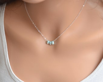Dainty Aqua Pearl Necklace, Sterling Silver, Real Freshwater Pearl, Bridesmaid Jewelry, Pale Pastel Blue, Free Shipping