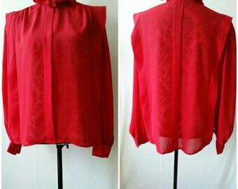Vintage Size 14 Alexandria Red Long sleeve ruffled neck blouse/shirt