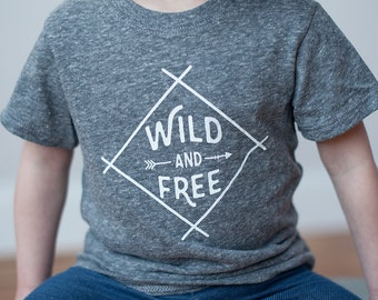Organic Wild and Free T-Shirt,Gray Toddler Top, Tri-Blend T-Shirt, 2T and 3T, Screen printed shirt by Sweetpea and Co.