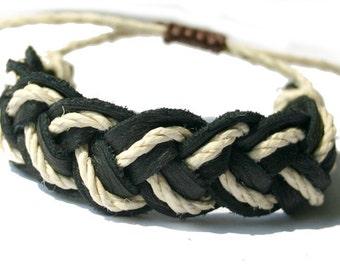 Surfer Sailor Style Hemp Bracelet Mixed Colors Black Leather Natural