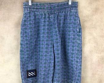Vintage Levi's Sport Jeans Denim Print Shorts - Size Large - Elastic Waist - Long Shirts - Plaid