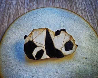 Panda brooch  Origami panda brooch  Wooden broch  Hand painted brooch  Laser cut brooch  Wood jewellery  Wood laser cut Origami wood brooch