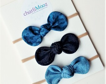 Set of 3 super soft nylon baby knot bow headbands Denim Bow headband Baby Shower Gift Baby Girl