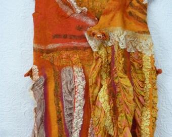 Top, female, romantic, tunic nuno felt, Unique, orange, yellow , silk, lace