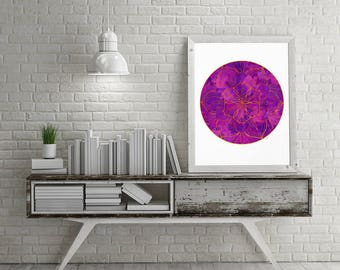 Mandala Wall Art, Mandala Print, Yoga Studio Decoration, Mandala Art, Yoga Print, Meditation Print, Purple wall decor, Bedroom Wall Decor