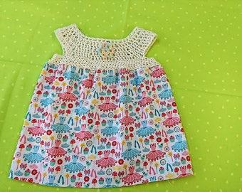 Crochet and Fabric Yoke Dress