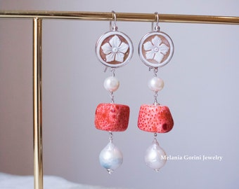 For PEPPA64 SEYCHELLES Earrings - 925 sterling silver with authentic shell cameos, starfish cameo and sponge red coral, baroque pearls