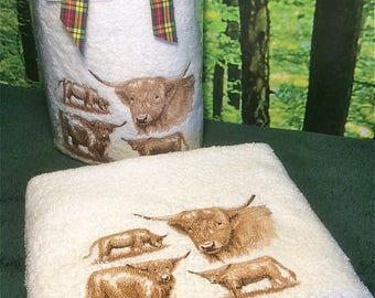 Scottish Highland Cows, Embroidered Highland Cows, Scottish Highland Cows on Facecloths, Hand Towels and Bath Towels