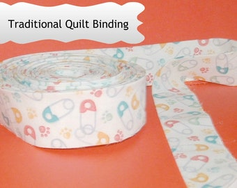 Traditional Quilt Binding - Diaper Pins on White Background