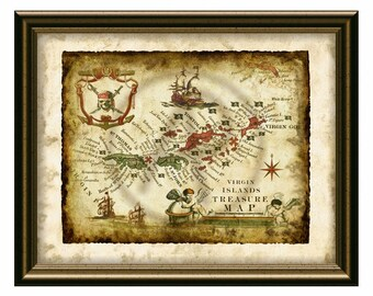 Virgin Islands Old Map,Pirate Treasure Decor Map Art,Antique Map of Vrgin Islands,Pirate Fantasy Map Art,Antique Map,Decor,Instant Download