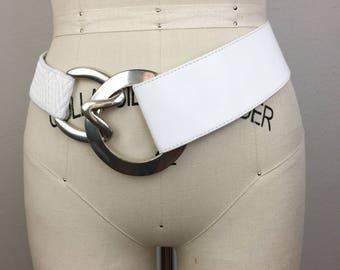 Vintage Suzi Roher White Leather Designer Belt