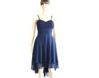 Navy Blue Bridesmaid Dress. Navy Blue  High Low Dress.  Knee Length Evening Dress. Chiffon Party Dress.