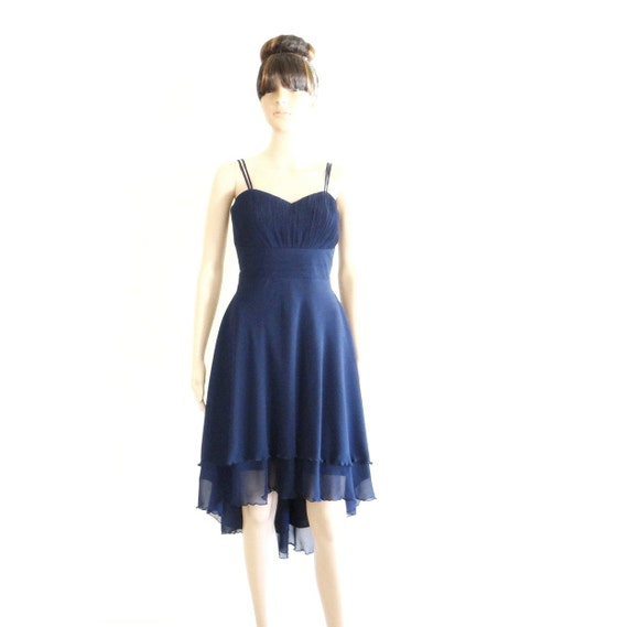 Navy Blue Bridesmaid Dress. Navy Blue High Low Dress. Knee