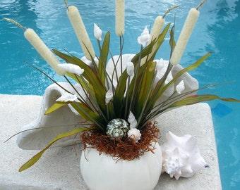Citrouille avec coquillages pour la décoration de pièce maîtresse côtières Halloween