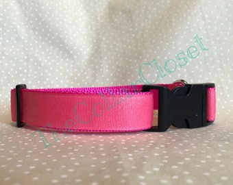 Coral Pink Glitter Sparkle Party Dog Collar