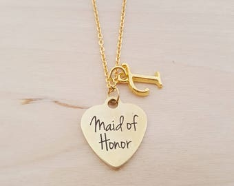 Maid Of Honor Charm - Heart Necklace - Personalized Necklace - Custom Initial Necklace- Gold Necklace - Wedding - Maid of Honor Gift
