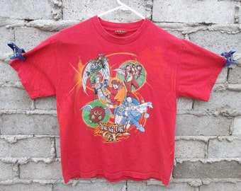 Vintage Yu-gi-oh T-Shirt Faded Red Small 1990s 90s grunge distress faded logo