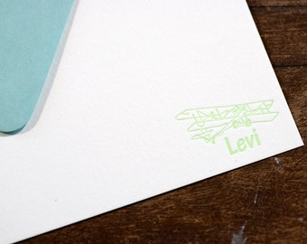 Letterpress Stationery | Personalized Kid Stationery | Correspondence Card | Flat Stationery Card