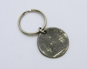 Fingerprint Keychain, Personalized Keychain, Fingerprint Keepsake, Masculine Gift for Men, Rustic Keychain, Memorial Keychain, Key Chain