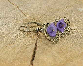 Brass filigree flower earrings lucite and Pearl Amethyst