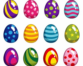 Bright Cute Easter Eggs Digital Clip Art 2 - Instant Download - YDC005