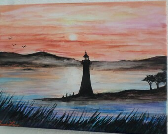 Ocean Lighthouse Sunset Maine, Watercolor on canvas 9x12 inches