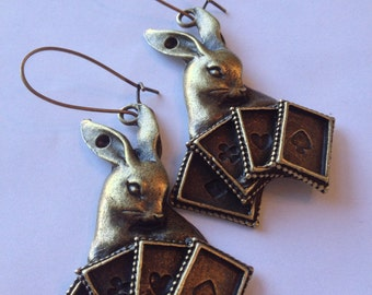 White Rabbit and Playing Cards Alice In Wonderland Big chunky Earrings