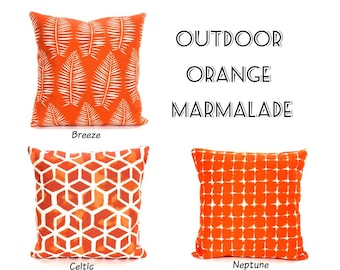 OUTDOOR Orange Throw Pillow Covers Decorative Cushions Orange Marmalade White Patio Pillows Deck Boat One or More Mix & Match ALL SIZES