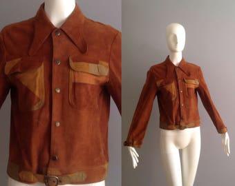 Sale Vintage 70s Suede Racer Cafe Jacket ~ Patchwork Pocket Bohemian Coat ~ Boho Hippie Dog Ear Collar Belted Jacket