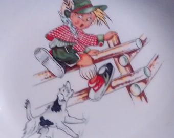 Vintage Figgio Flint Child's Dish Norway Boy and Dog