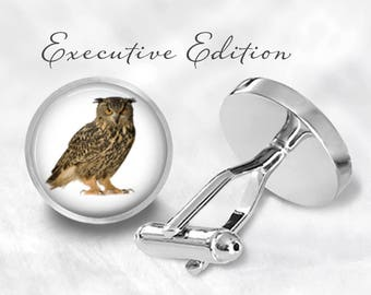 Owl Cufflinks - Owls Cuff Links - Birds of Prey Cufflink (Pair) Lifetime Guarantee (S1157)