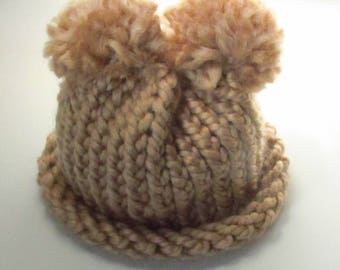 Brown Pom-pom Baby Hat