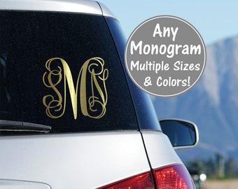 Vine Monogram Decal Monogram Vinyl Car Decal Vine Monogram Cursive Monogram Fancy Monogram Script Monogram Glitter Car Decal Sticker for Car