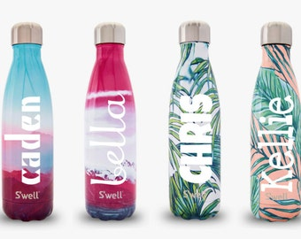 S'well Water Bottle with Personalized Custom Monogram (Resort, Destination, Galaxy, Textile, Exotic and Gem Collections)