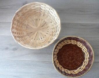 Boho Wall Basket Pair - Natural Blond and Brown Woven Basket Wall Decor - Bohemian Home