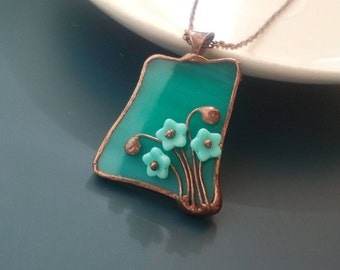 Stained glass necklace, gift for women, turquoise pendant, artistic jewelry, glass flowers, unique handmade