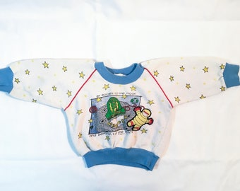 Vintage 80s Infant/Toddler Space Sweatshirt — Rocket to the Moon — Size 24 Months