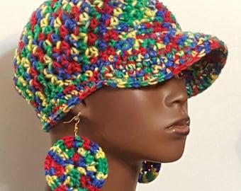 CLEARANCE Crochet Baseball Cap Hat with Earrings by Razonda Lee Razondalee