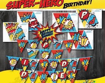 SUPERHERO Party Banners! Printable Superhero Birthday Banner-Superhero Party Printable Banner-Super Hero Birthday-ItAllAboutKidz