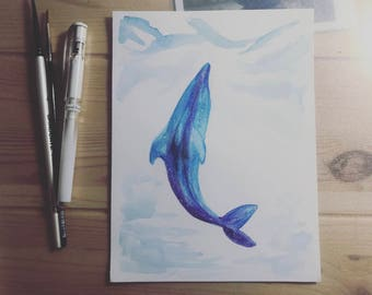 Watercolor Dolphin Original Painting - Rising