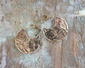"Small Silver hoop earrings ""Eva"" Vermeil, sterling silver, hand made in France."
