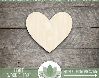 Wood Heart Shape, Unfinished Wood Heart Laser Cut Shape, DIY Craft Supply, Many Size Options